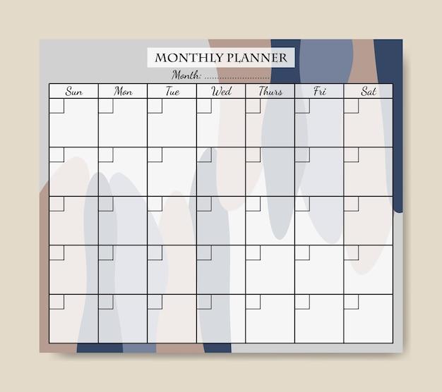 블루 회갈색 추상 모양 배경 인쇄용 월간 플래너 템플릿