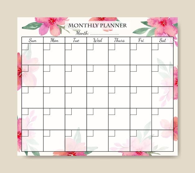 Шаблон ежемесячного планировщика с розовым букетом акварельных цветов для печати
