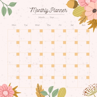 Monthly planner with autumn floral background