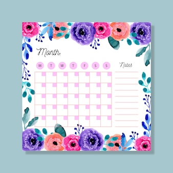 Monthly planner with colorful watercolor floral