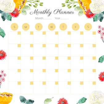 Monthly planner with cute floral watercolor frame