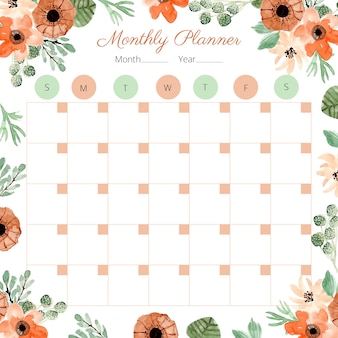 Monthly planner with decoration floral watercolor
