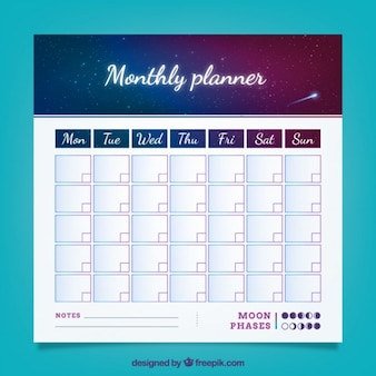 Monthly planner with night sky