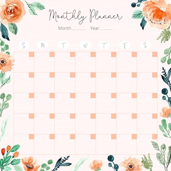 Monthly planner with orange green floral watercolor frame