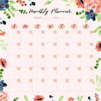 Monthly planner with orange navy floral watercolor background
