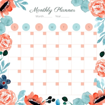 Monthly planner with orange turquoise floral watercolor frame