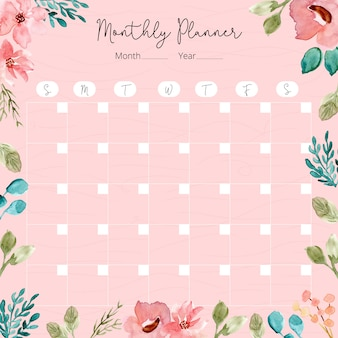 Monthly planner with watercolor floral frame