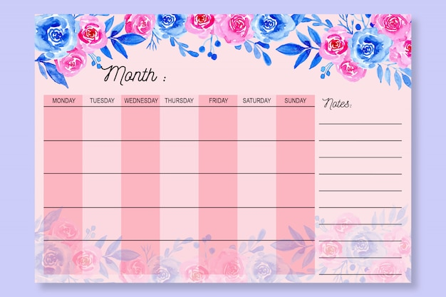 Monthly planner with watercolor floral pink background