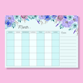 Monthly planner  with watercolor floral soft blue background