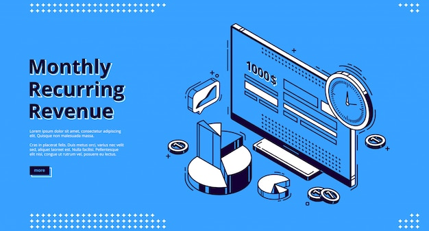 Monthly recurring revenue isometric landing page