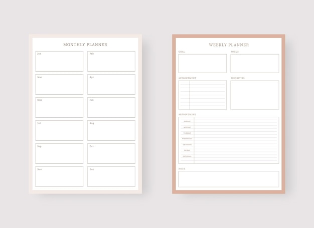 Monthly and weekly planner template set of planner and to do list