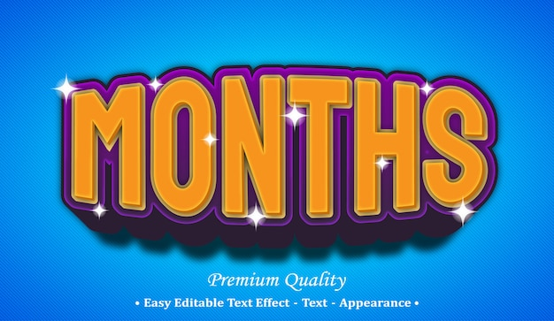 Months 3d editable text style effect