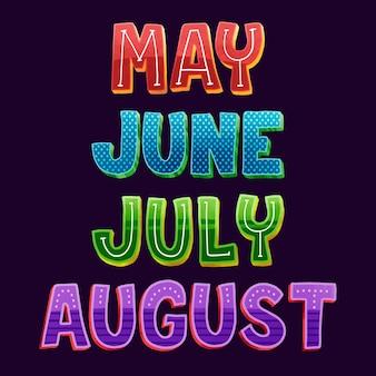 Набор надписей месяцев
