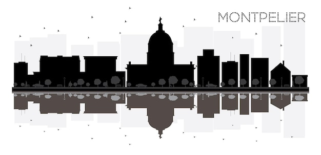 Montpelier city skyline black and white silhouette with reflections. vector illustration. simple flat concept for tourism presentation, banner, placard or web site. cityscape with landmarks.