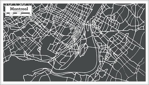 Карта монреаля канада в стиле ретро. векторные иллюстрации.