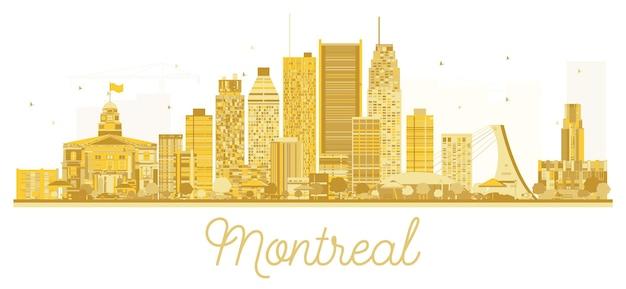 Золотой силуэт горизонта города монреаль. векторная иллюстрация. концепция деловых поездок. городской пейзаж монреаля с достопримечательностями.