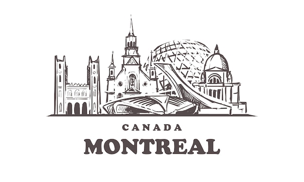 Монреальский городской эскиз эскиз, изолированные на белом фоне