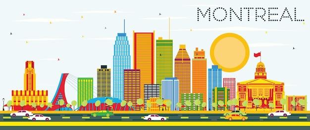Горизонт монреаля с цветными зданиями и голубым небом. векторные иллюстрации. деловые поездки и концепция туризма с исторической архитектурой. изображение для презентационного баннера и веб-сайта.