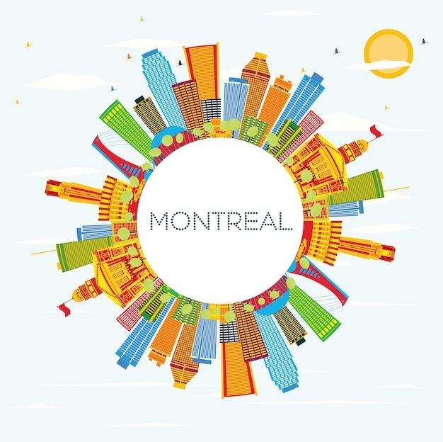 Горизонт монреаля с цветными зданиями, голубым небом и копией пространства. векторные иллюстрации. деловые поездки и концепция туризма с исторической архитектурой. изображение для презентационного баннера и веб-сайта.