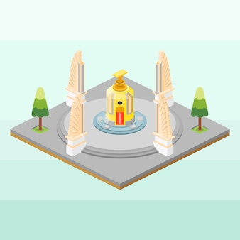 Monument of democracy of thailand in isometric