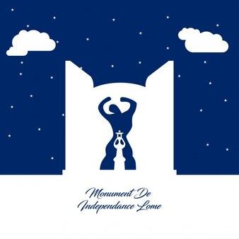 Памятник de independance ломе абстрактный силуэт на синем фоне бумаги