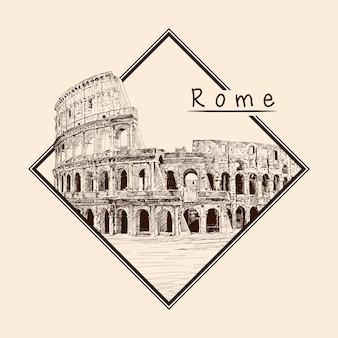 Памятник итальянской архитектуры колизей. карандашный рисунок на бежевом фоне. эмблема в прямоугольной рамке и надпись.