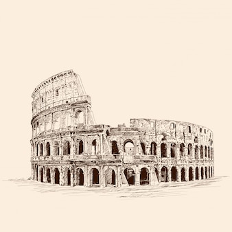 Памятник итальянской архитектуры колизей. карандашный рисунок на бежевом фоне.