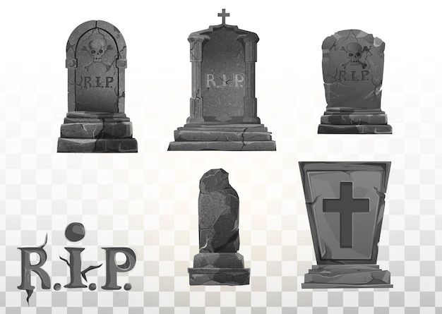무덤에 기념물입니다. 묘지에 있는 묘비. rip의 무덤에 회색 기념물입니다. 벡터 만화 그림입니다. 할로윈 요소 집합입니다.