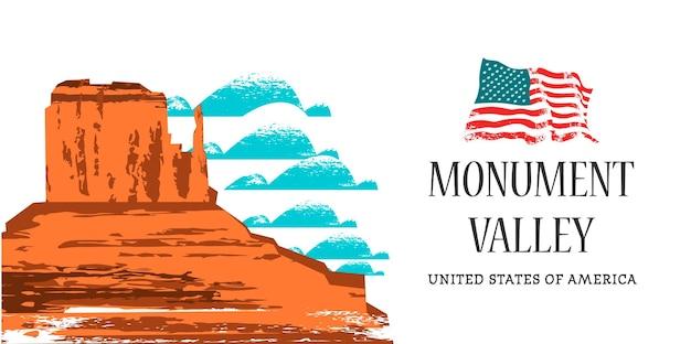 Долина монументов в аризоне, сша. векторная иллюстрация.