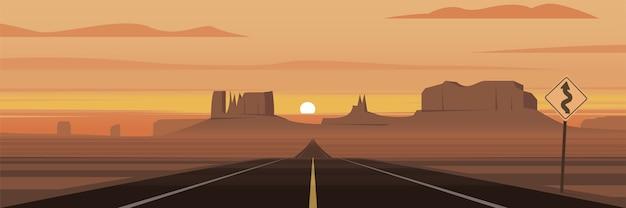 Сцена национального парка долина монументов панорамная иллюстрация