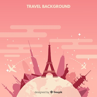 Monuments around the globe travel background