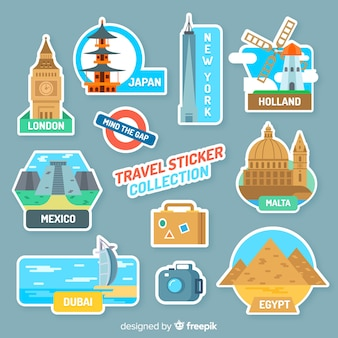 Monuments travel sticker collection