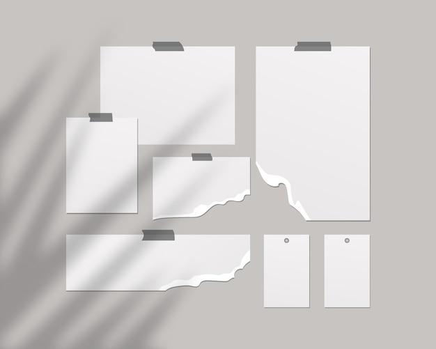 Настроение настроения. пустые листы белой бумаги на стене. настроение с наложением тени. шаблон дизайна. реалистичная иллюстрация.
