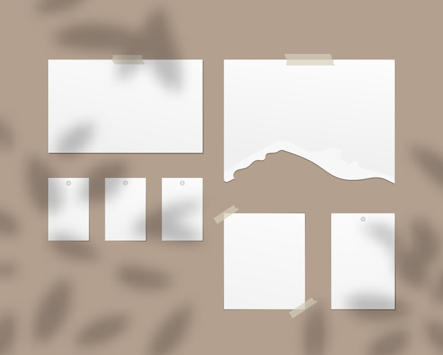 Mood board  . empty sheets of white paper on the wall. mood board with shadow overlay.   template design. realistic   illustration.