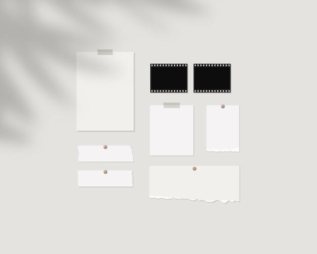 ムードボードモックアップテンプレート影のオーバーレイで壁に白い紙の空のシートモックアップベクトル分離テンプレートデザイン現実的なベクトル図