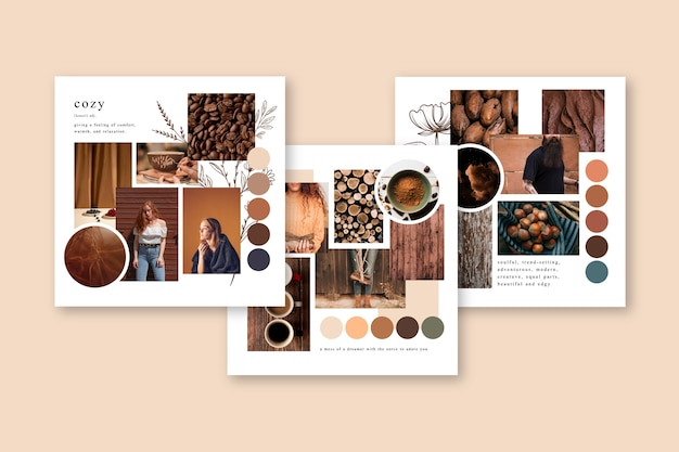 Mood board template in autumn colors