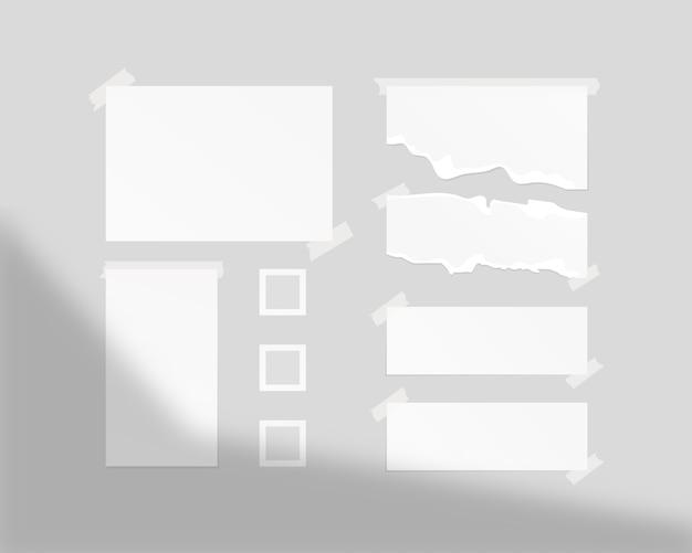 Шаблон настроения. пустые листы белой бумаги на стене с тенью наложения. изолированы. шаблон дизайна. реалистичная иллюстрация.