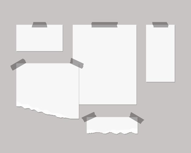 ムードボードテンプレート。影のオーバーレイが付いている壁に白い紙の空のシート。分離されました。テンプレートデザイン。リアルなイラスト。