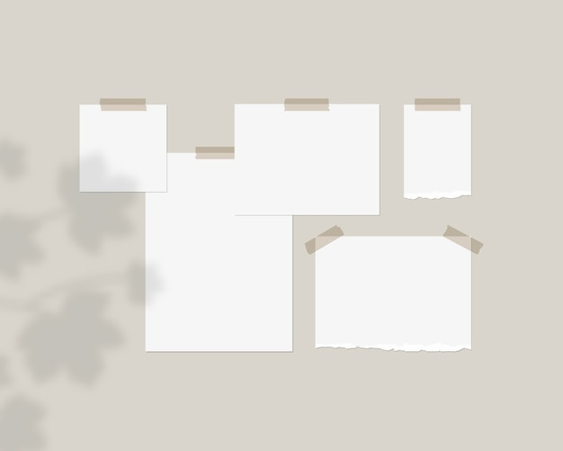 Шаблон доски настроения. пустые листы белой бумаги на стене с наложением тени.
