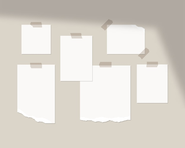 Mood board  template. empty sheets of white paper on the wall with shadow overlay.   isolated. template design. realistic  illustration.