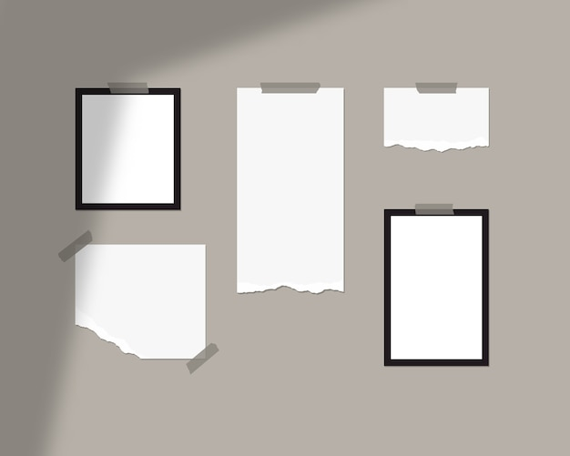 Mood board  template. empty sheets of white paper on the wall with shadow overlay.   isolated.
