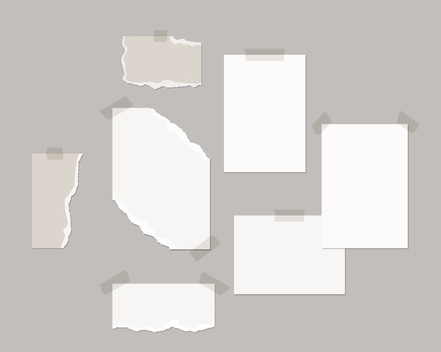 Mood board  template. empty sheets of white paper on the wall with shadow overlay.