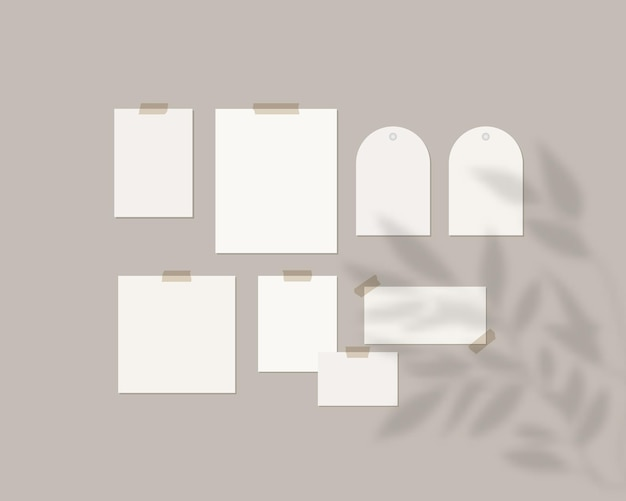 Mood board template. empty sheets of white paper on the wall with shadow