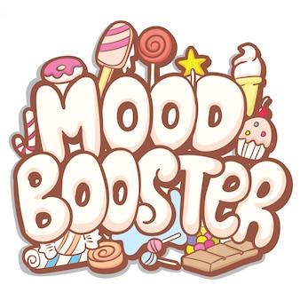 Mood booster рисованной типографии с милой каракули