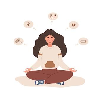 Перепады настроения. грустная женщина, сидящая в позе лотоса. душевное здоровье.
