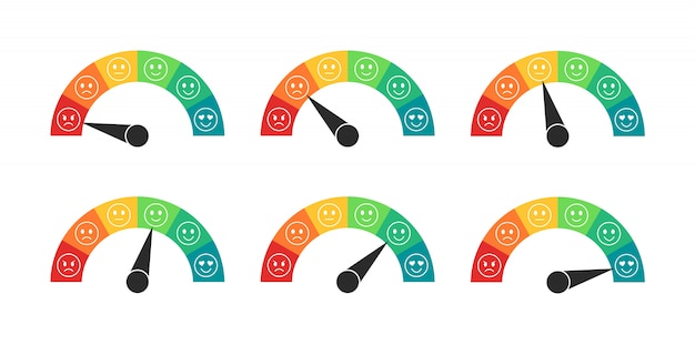 Mood rating meter in flat style. speedometers with of customer review. customer satisfaction meter.  illustration.