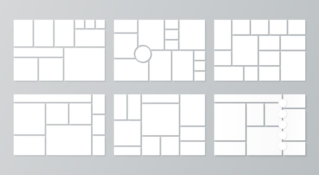 Moodboard template. collage grid. vector. set of blank mood boards. mosaic photo frames