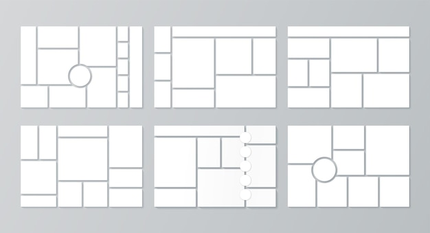 Moodboard template. photo collage layout. vector illustration. set mood boards.