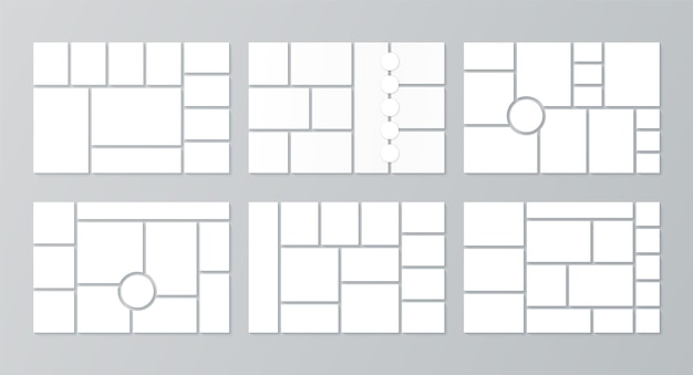 Moodboard template. photo collage layout. vector. set mood boards. pictures grids on background. mosaic frame banner. photography album. horizontal design of presentation mockup. simple illustration.