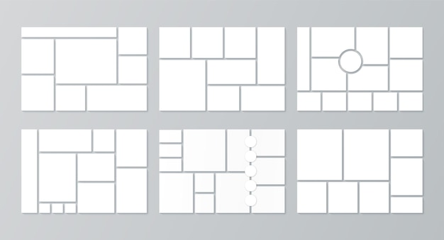 Moodboard template. photo collage. vector. set mood boards. pictures grids on background. mosaic frame banner. photography album layout. horizontal design of mockup. simple illustration. Premium Vector
